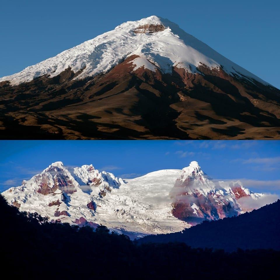 Cotopaxi and Antisana volcanoes in Ecuador.